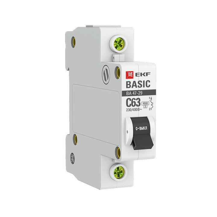 Выключатель автоматический модульный 1п C 6А 4.5кА ВА 47-29 Basic EKF mcb4729-1-06C