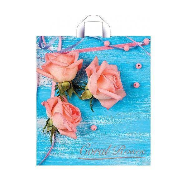 """Пакет (мешок) петля ПНД 42х38см, 37мкм, """"Коралловые розы"""", 50 шт"""