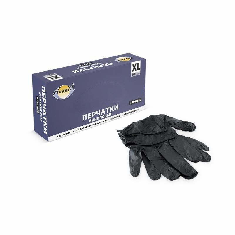 Перчатки виниловые, без талька, р-р. XL, черные, 100 шт