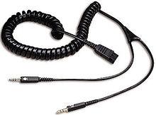Jabra 8734-599 Кабель QD Cord to 2x 3,5mm pin plug , coiled, 0,5 - 2 meter