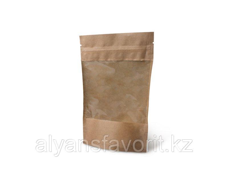 Пакет дой-пак бумажный крафт с прозрачным окном 100/140 мм и с замком zip-lock