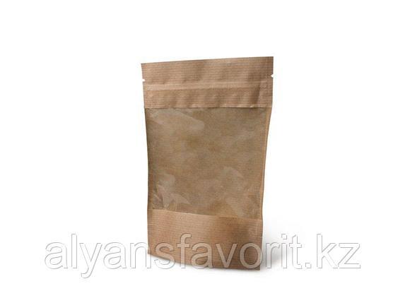 Пакет дой-пак бумажный крафт с прозрачным окном 100/140 мм и с замком zip-lock, фото 2