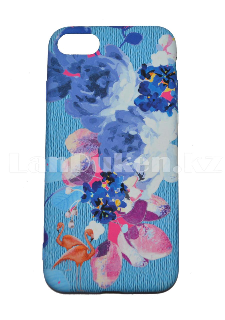 Чехол на Айфон 7 (iPhone 7) Luxo силиконовый матовый принт фламинго и пионы голубой - фото 1