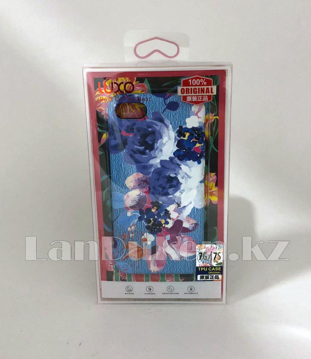 Чехол на Айфон 7 (iPhone 7) Luxo силиконовый матовый принт фламинго и пионы голубой - фото 2
