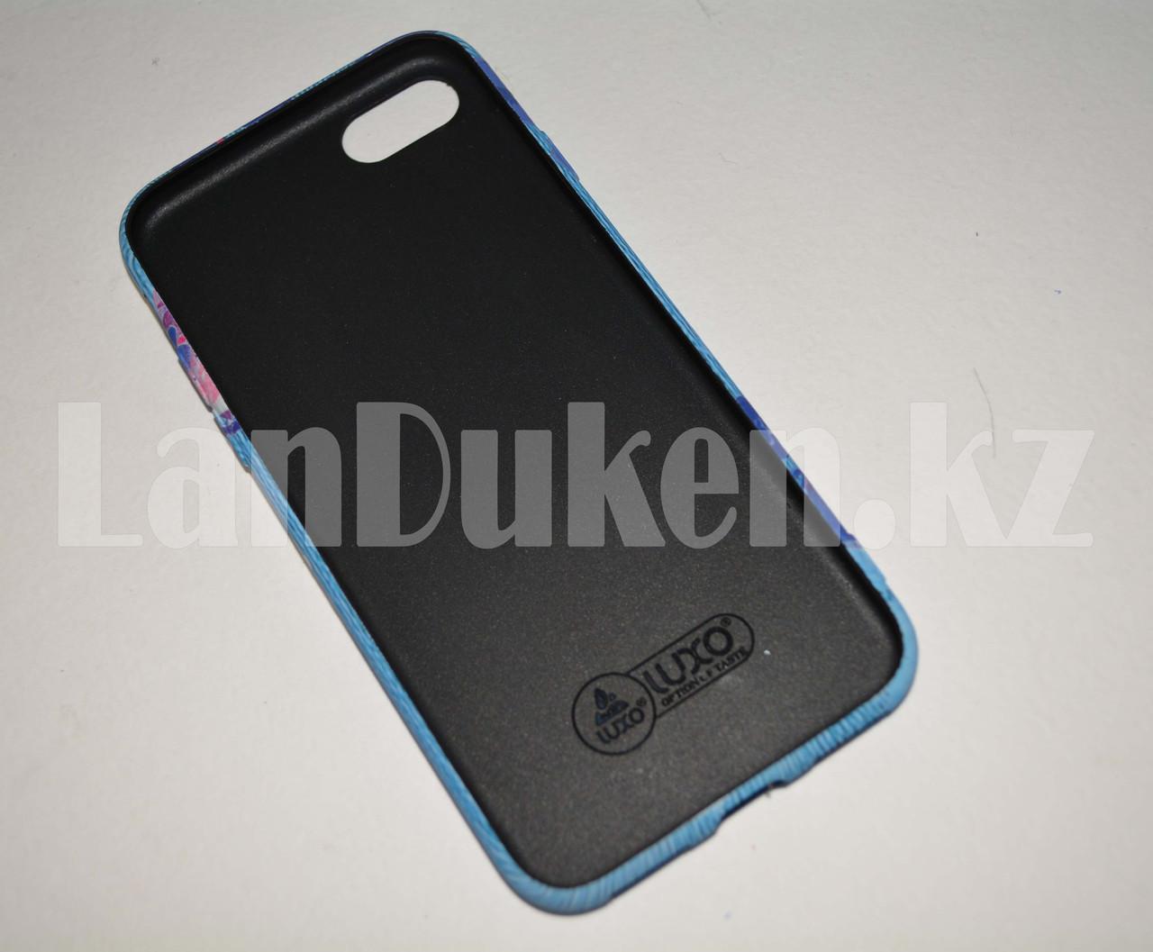 Чехол на Айфон 7 (iPhone 7) Luxo силиконовый матовый принт фламинго и пионы голубой - фото 3
