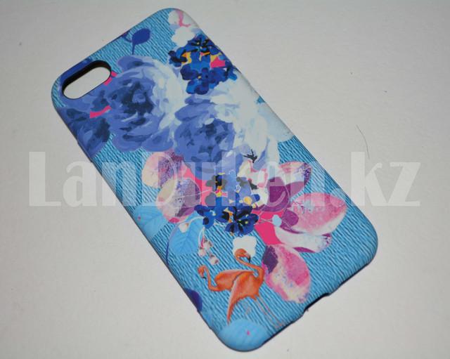 CHekhol na Ajfon 7 (iPhone 7) Luxo silikonovyj matovyj print flamingo i piony goluboj