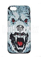Чехол на Айфон 5 (iPhone 5, 5S, 5SE) Luxo силиконовый матовый принт белый волк