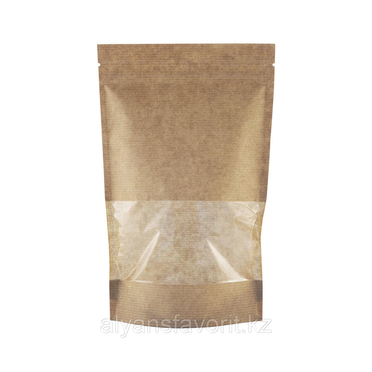 Пакет дой-пак бумажный крафт с прозрачным окном 70 мм и замком zip-lock