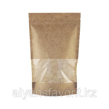 Пакет дой-пак бумажный крафт с прозрачным окном 70 мм и замком zip-lock, фото 2