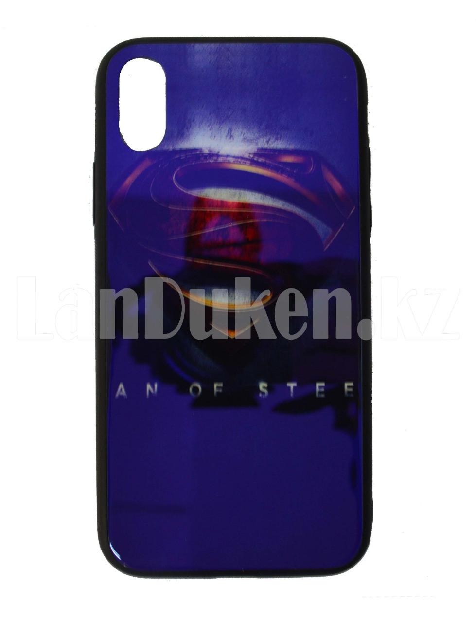 Чехол на Айфон 10 (iPhone X) с зеркальным покрытием принт Супермен фиолетовый - фото 1