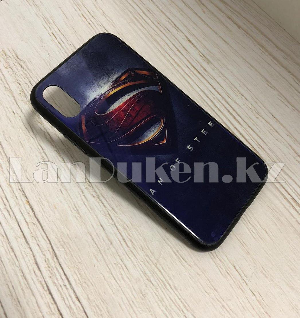Чехол на Айфон 10 (iPhone X) с зеркальным покрытием принт Супермен фиолетовый - фото 2