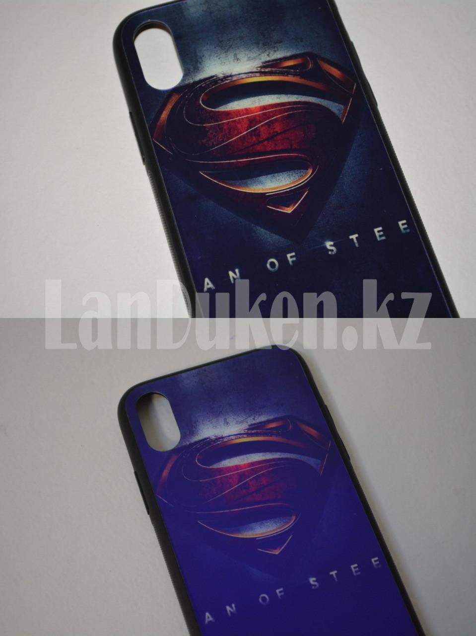 Чехол на Айфон 10 (iPhone X) с зеркальным покрытием принт Супермен фиолетовый - фото 3