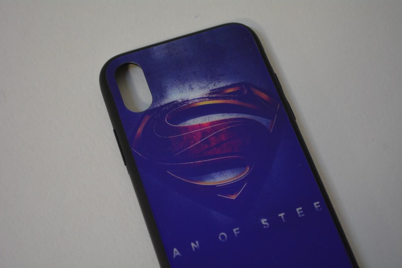 Чехол на Айфон 10 (iPhone X) с зеркальным покрытием принт Супермен фиолетовый - фото 4