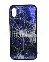 Чехол на Айфон 10 (iPhone X) с зеркальным покрытием принт разбитое стекло