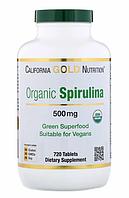 California Gold Nutrition, Органическая спирулина, сертифицирована Министерством сельского хозяйства США,500мг