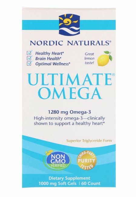 Nordic Naturals, Ultimate Omega, со вкусом лимона, 1,280 мг, 60 желатиновых капсул