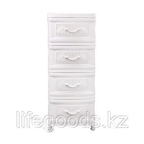 Комод пластиковый с ящиками 4-х секционный белый, М5507, фото 2