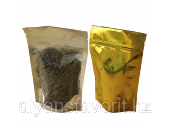 Пакет дой-пак  металлизированный золотой с прозрачной стороной и с замком zip-lock, фото 2