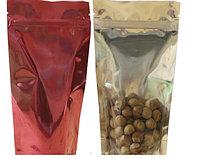 Пакет дой-пак металлизированный красный с прозрачной стороной и с замком zip-lock