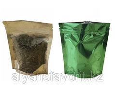 Пакет дой-пак металлизированный зеленый с прозрачной стороной и с замком zip-lock