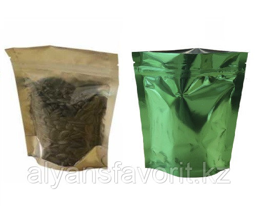 Пакет дой-пак металлизированный зеленый с прозрачной стороной и с замком zip-lock, фото 2