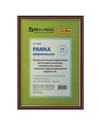 "Рамка пластиковая для фотографий, дипломов, грамот ""Brauberg Hit"", 21x30см, красное дерево"