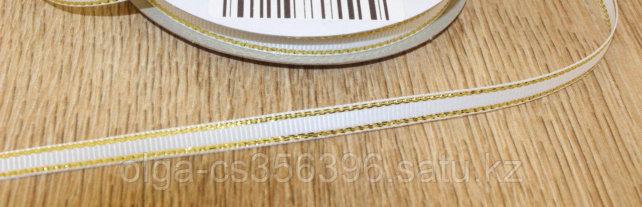Репсовая лента, цв. белый с люрексом золото 6мм.  Creativ 2691