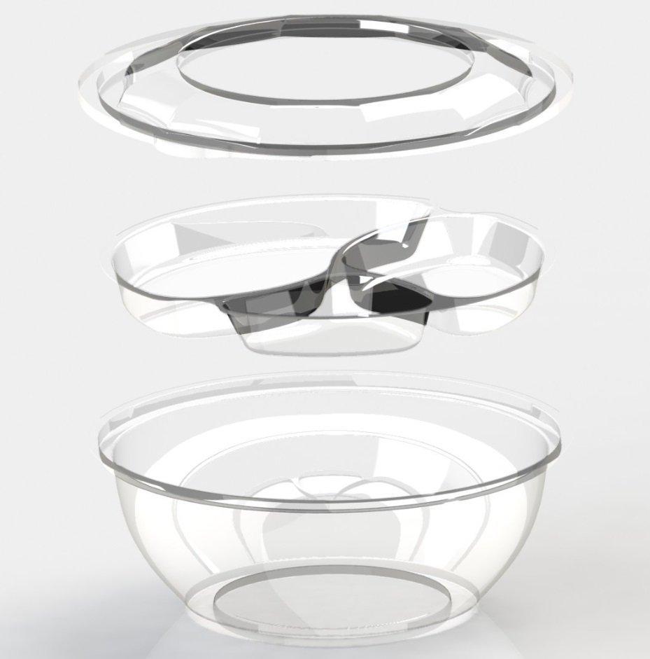 Контейнер для салатов, кругл., d 203 мм, h 85 мм, 1300 мл, прозрачн., ПС, 400 шт