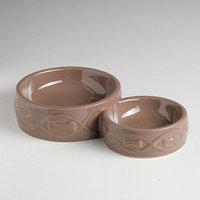Миска керамическая 'Волна' двойная, 150/350 мл, коричневая