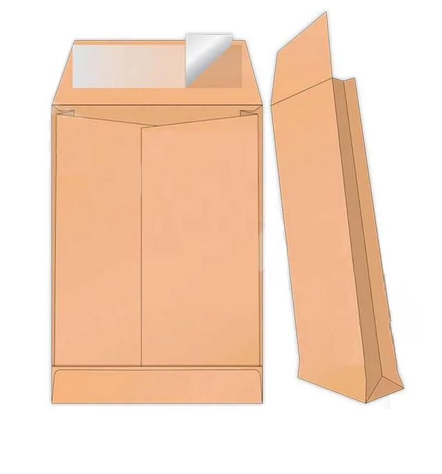 Конверт С4 (229х324х40 мм) пакет, с расширением, коричневый