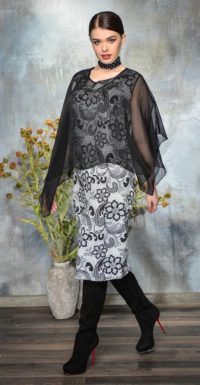Платье Anna Majewska-A275, черно-белые тона, 52