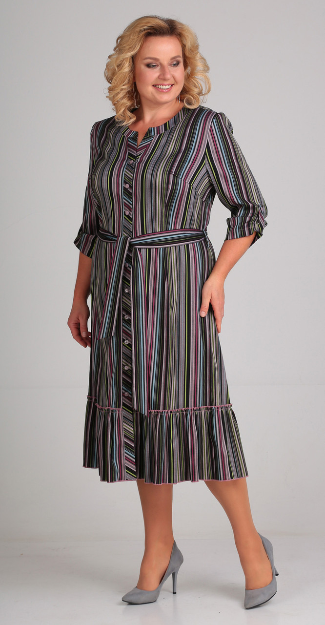 Платье Асолия-2417, полоски, 50
