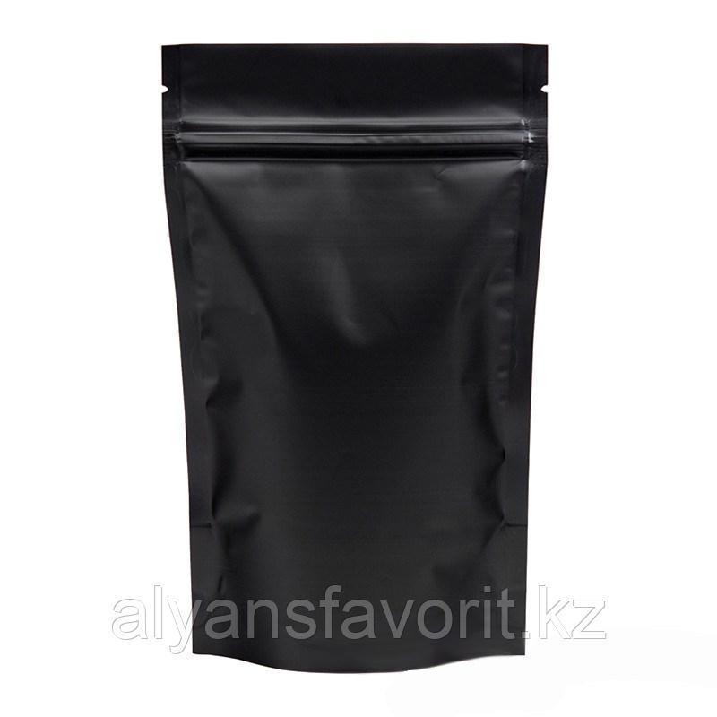 Пакет дой-пак металлизированный чёрный матовый с замком zip-lock
