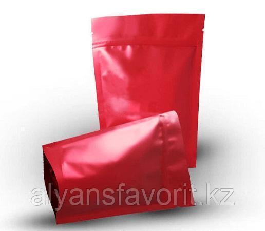 Пакет дой-пак металлизированный красный матовый с замком zip-lock