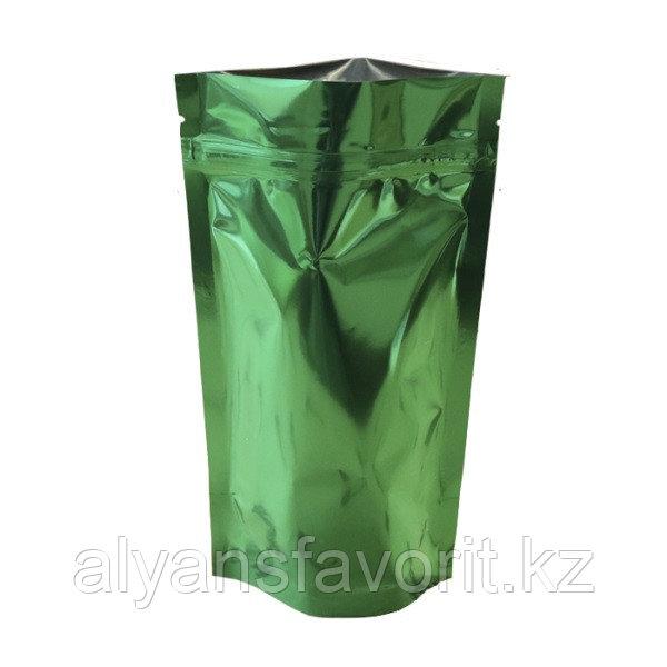 Пакет дой-пак металлизированный зелёный глянцевый с замком zip-lock