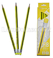Простые карандаши с желтым ластиком 12 штук в упаковке Yalong 191301 (HB)