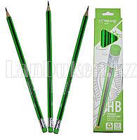 Простые карандаши с зеленым ластиком 12 штук в упаковке Yalong 191301 (HB)