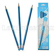 Простые карандаши с голубым ластиком 12 штук в упаковке Yalong 191301 (HB)