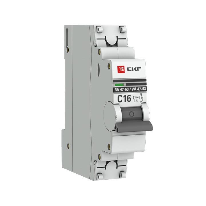 ААвтоматический выключатель 1P 10А (C) 4,5kA ВА 47-63 EKF PROxima