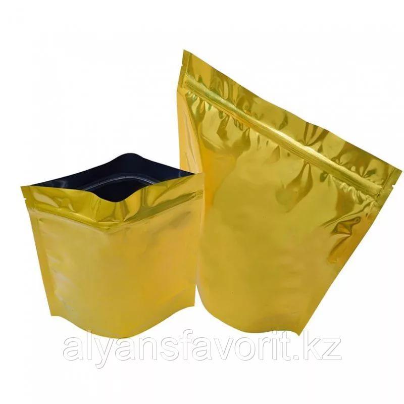 Пакет дой-пак металлизированный золотой глянцевый с замком (zip-lock