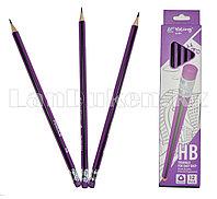 Простые карандаши с фиолетовым ластиком 12 штук в упаковке Yalong 191301 (HB)