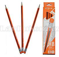 Простые карандаши с оранжевым ластиком 12 штук в упаковке Yalong 191301 (HB)