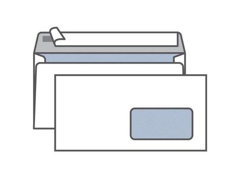 Конверт С65 KurtStrip (110х220 мм)белый, удаляемая лента, внутренняя запечатка, правое окно 45х90 мм