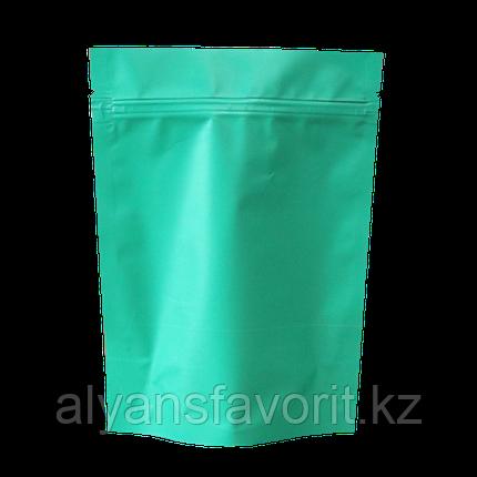 Пакет дой-пак металлизированный бирюзовый матовый с замком zip-lock, фото 2