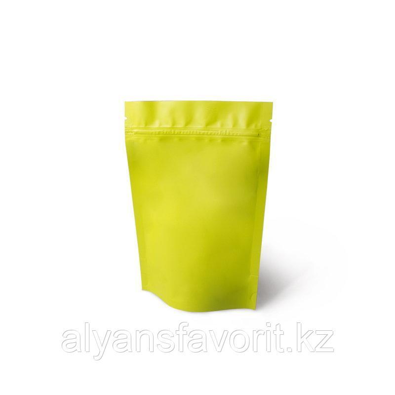 Пакет дой-пак металлизированный  желтый матовый с замком зип-лок (zip-lock)