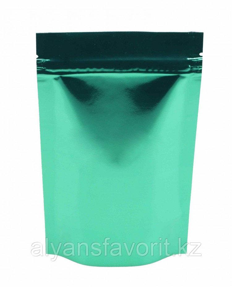 Пакет дой-пак металлизированный зеленый глянцевый с замком zip-lock