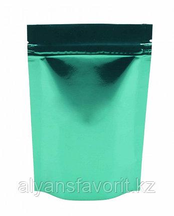 Пакет дой-пак металлизированный зеленый глянцевый с замком zip-lock, фото 2