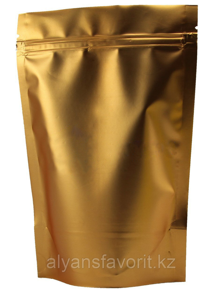 Пакет дой-пак металлизированный золотой матовый с замком зип-лок (zip-lock)