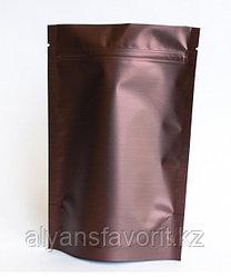Пакет дой-пак металлизированный коричневый матовый с замком zip-lock
