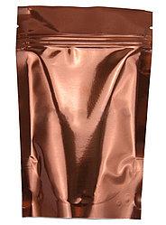 Пакет дой-пак металлизированный коричневый глянцевый с замком zip-lock